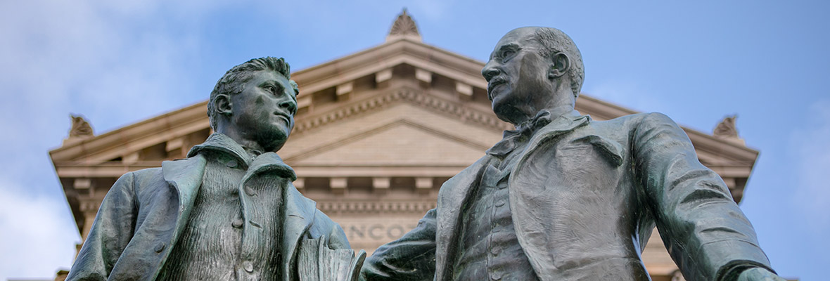 Statues in front of Lippincott Hall