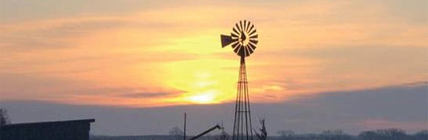 Windmill and sunset